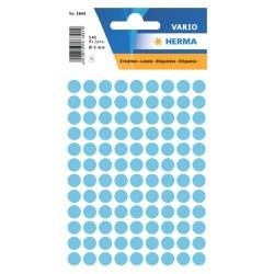 Etiket Herma 1843 rond 8mm blauw 540stuks