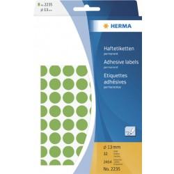Etiket Herma 2235 rond 13mm groen 2464stuks