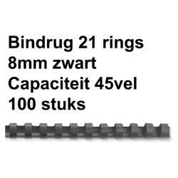Bindrug Fellowes 8mm 21rings A4 zwart 100stuks