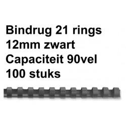 Bindrug GBC 12mm 21rings A4 zwart 100stuks