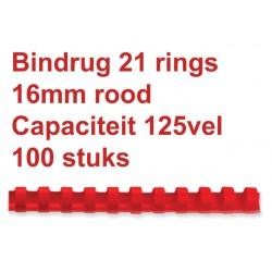 Bindrug GBC 16mm 21rings A4 rood 100stuks