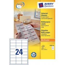 Etiket Avery Zweckform 3658 64.6x33.8mm wit 4800stuks