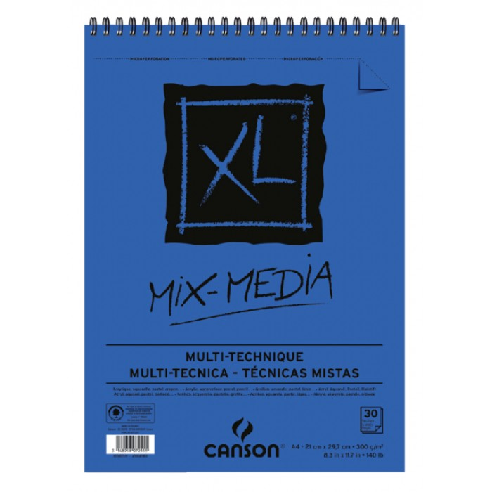 Aquarelblok Canson  XL Mix Media  A4 300gr 30vel spiraal