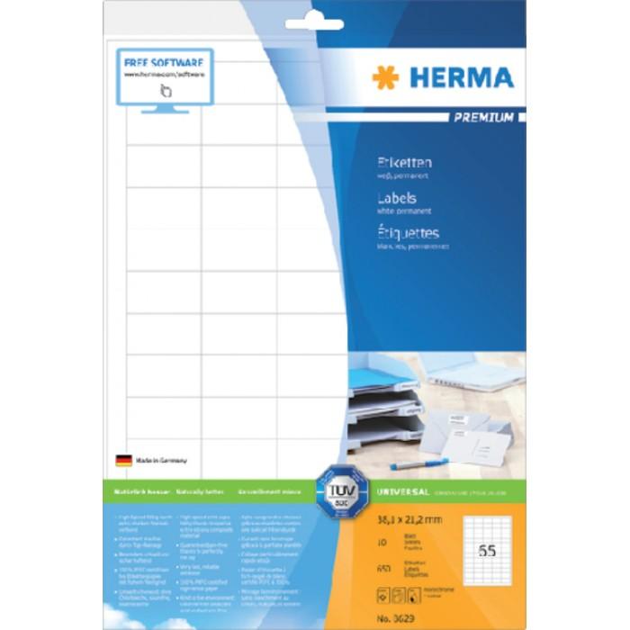 Etiket Herma 8629 38.1x21.2mm premium wit 650stuks