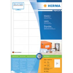 Etiket Herma 4632 64.6x33,8mm premium wit 4800stuks