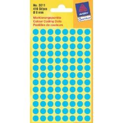 Etiket Avery Zweckform 3011 rond 8mm blauw 416stuks