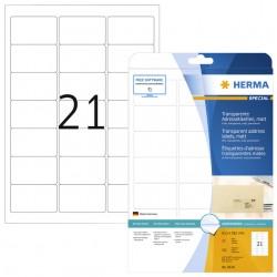 Etiket Herma 8670 A4 63.5x38.1mm 525st folie transparant mat