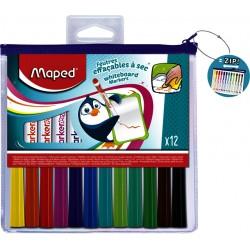 Viltstift Maped whiteboard blister à 12 stuks ass