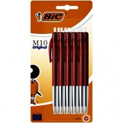 Balpen Bic M10 rood medium blister à 10 stuks