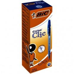 Balpen Bic Cristal clic medium blauw box à 20 stuks
