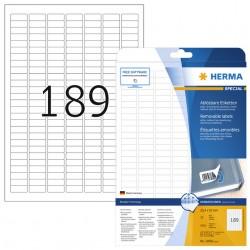 Etiket Herma 10001 A4 25.4x10mm verwijderbaar wit