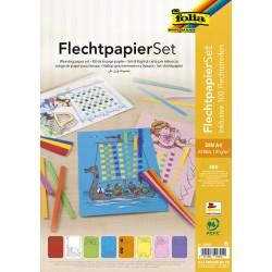 Vlechtstrokenpapier Folia A4 8 kleuren assorti
