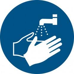 Pictogram Tarifold handen wassen verplicht ø200mm
