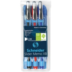 Balpen Schneider Slider Memo XB 0,8mm etui à 3 kleuren