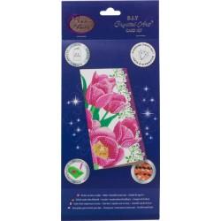 Diamondpainting Crystal Art Kaart Roze tulpen 11x22cm