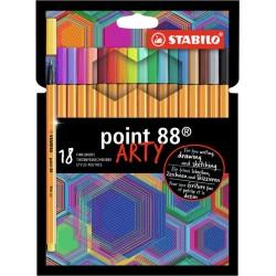 Fineliner STABILO point 88 Arty etui à 18 kleuren