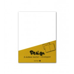 Dubbele kaarten +enveloppen Papyrus 114x162mm wit