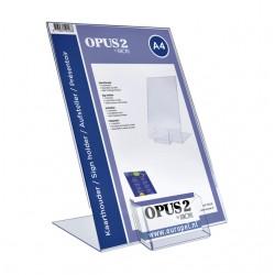 Kaarthouder OPUS 2 L-standaard A4 staand acryl met visitekaartbakje
