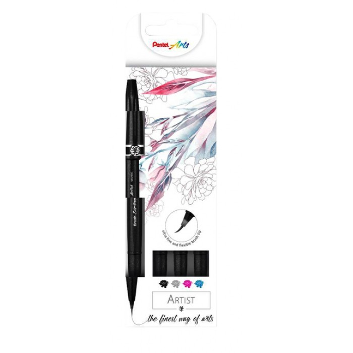 Brushstift Pentel artist SESF30C-4 blister à 4 stuks assorti