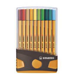 Fineliner STABILO point 88 ColorParade antraciet/oranje etui à 20 kleuren