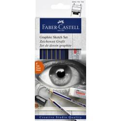 Potloden Faber Castell 6 hardheden inclusief puntenslijper en gum