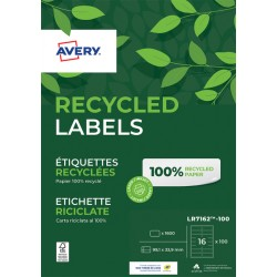 Etiket Avery LR7162-100 99.1x33.9mm recycled wit 1600stuks