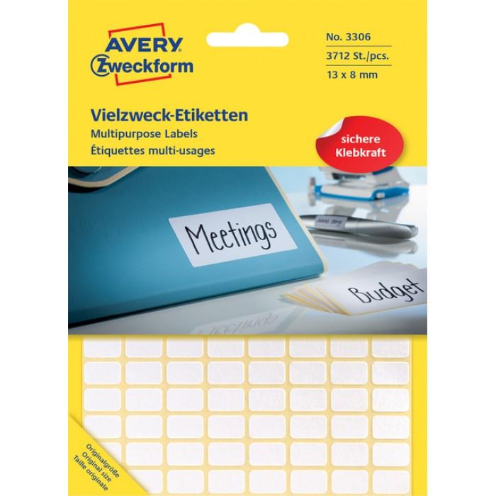 Etiket Avery Zweckform 3306 13x8mm wit 3712stuks