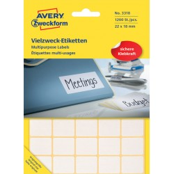 Etiket Avery Zweckform 3318 22x18mm wit 1200stuks