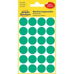 Etiket Avery Zweckform 3006 rond 18mm groen 96stuks