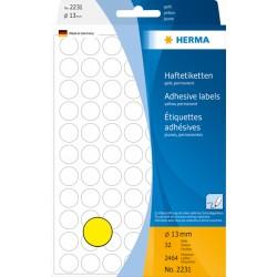 Etiket Herma 2231 rond 13mm geel 2464stuks
