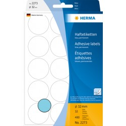 Etiket Herma 2273 rond 32mm blauw 480stuks