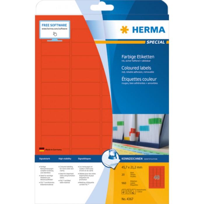 Etiket Herma 4367 45.7x21.2mm verwijderbaar rood 960stuks