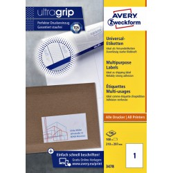 Etiket Avery Zweckform 3478 210x297mm A4 wit 100stuks