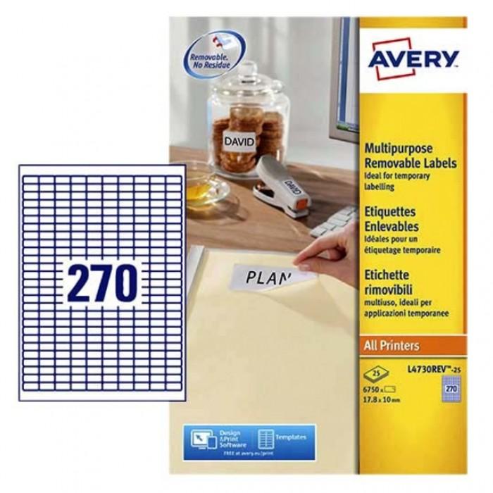 Etiket Avery L4730REV 17.8x10mm afneembaar wit 6750stuks