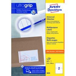 Etiket Avery Zweckform 3655 210x148mm A5 wit 200stuks