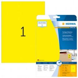 Etiket Herma 4421 210x297mm verwijderbaar A4 geel 20stuks