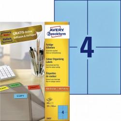 Etiket Avery Zweckform 3457 105x148mm A6 blauw 400stuks