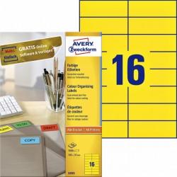 Etiket Avery Zweckform 3455 105x37mm geel 1600stuks
