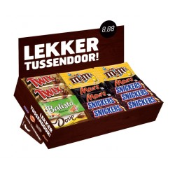 Candy box met Mars Snickers Twix M&M Balisto Dove
