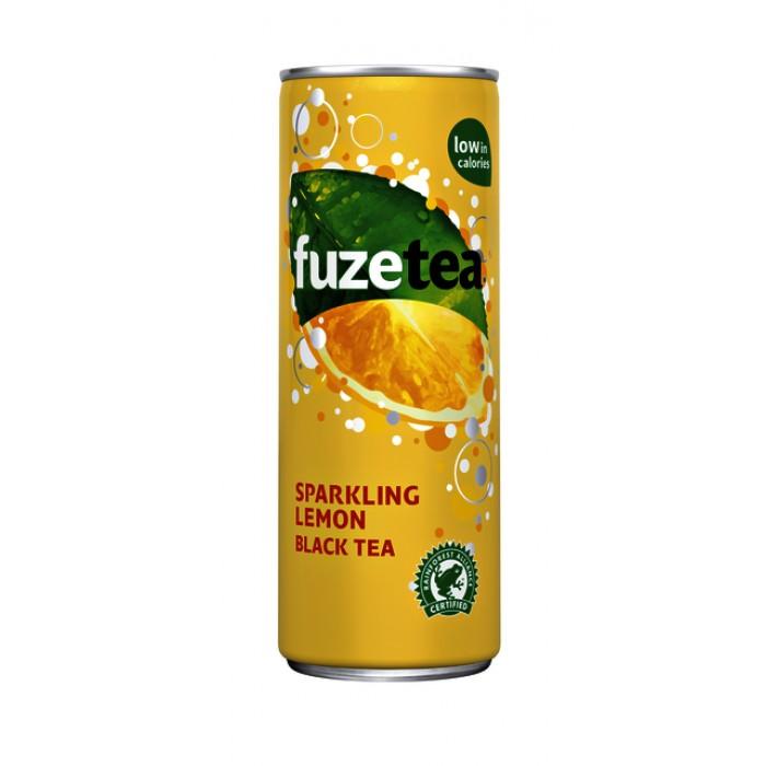 Frisdrank FuzeTea Sparkling/lemon blikje 0.25l