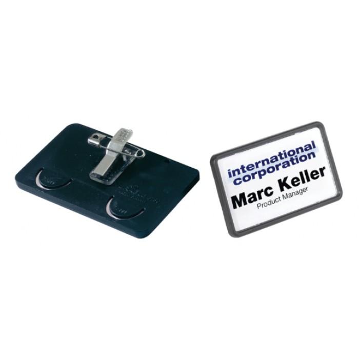 Badge Durable 8130 met combiklem 40x75mm zwart