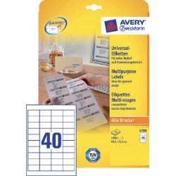 Etiket Avery Zweckform 4780 48.5x25.4mm wit 1000stuks