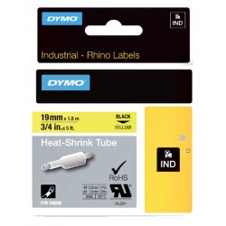 Labeltape Dymo Rhino 18058 krimpkous 19mmx1.5m zwart op gl