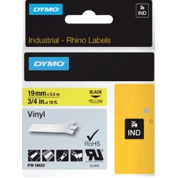 Labeltape Dymo Rhino 18433 vinyl 19mmx5.5m zwart op geel