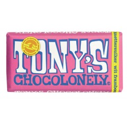 Chocolade Tony's Chocolonely reep 180gr witframboos knet.
