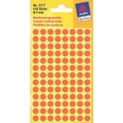 Etiket Avery Zweckform 3177 rond 8mm lichtrood 416stuks