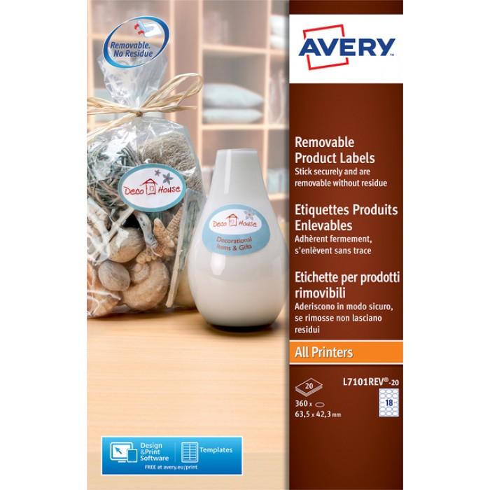 Etiket Avery L7101REV-20 63.5x42.3mm afneembaar mat wit 360stuks