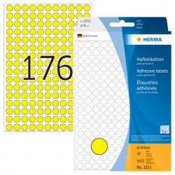 Etiket Herma 2211 rond 8mm geel 5632stuks