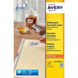 Etiket Avery L4731REV-25 25.4x10mm afneembaar wit 4725stuks
