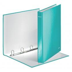 Ringband Leitz WOW A4 4-rings D-mech 25mm karton ijsblauw